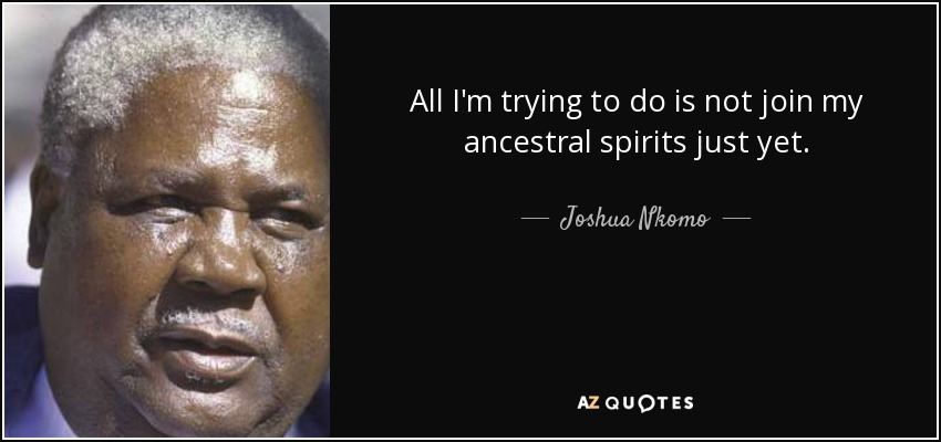 All I'm trying to do is not join my ancestral spirits just yet. - Joshua Nkomo