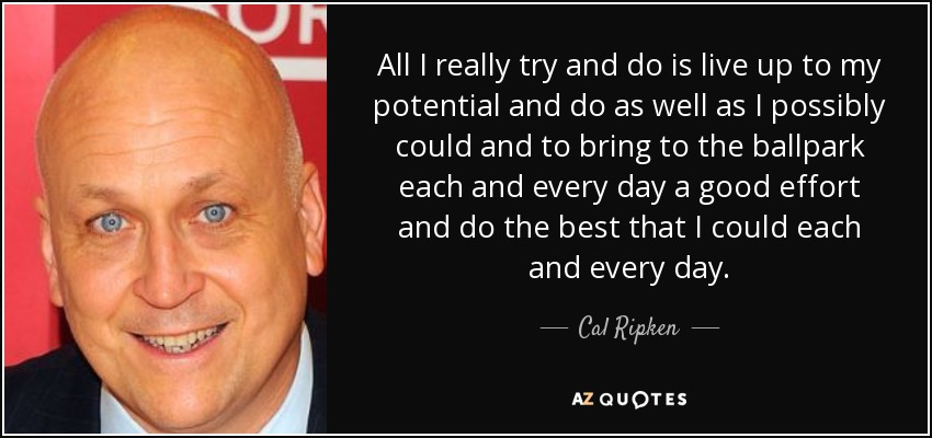 All I really try and do is live up to my potential and do as well as I possibly could and to bring to the ballpark each and every day a good effort and do the best that I could each and every day. - Cal Ripken, Jr.