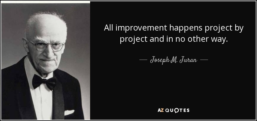 All improvement happens project by project and in no other way. - Joseph M. Juran