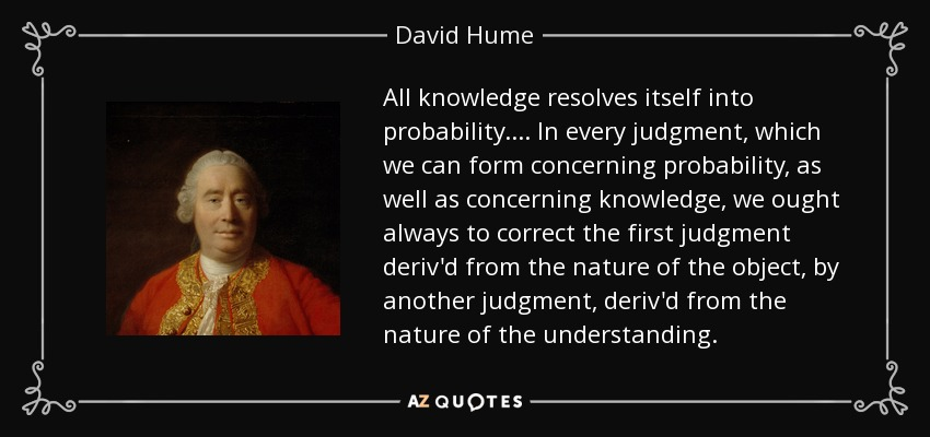 All knowledge resolves itself into probability. ... In every judgment, which we can form concerning probability, as well as concerning knowledge, we ought always to correct the first judgment deriv'd from the nature of the object, by another judgment, deriv'd from the nature of the understanding. - David Hume