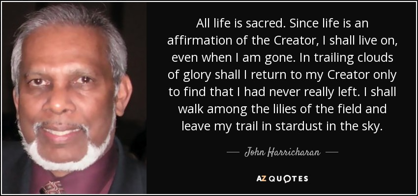All life is sacred. Since life is an affirmation of the Creator, I shall live on, even when I am gone. In trailing clouds of glory shall I return to my Creator only to find that I had never really left. I shall walk among the lilies of the field and leave my trail in stardust in the sky. - John Harricharan