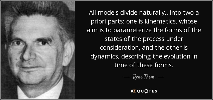All models divide naturally...into two a priori parts: one is kinematics, whose aim is to parameterize the forms of the states of the process under consideration, and the other is dynamics, describing the evolution in time of these forms. - Rene Thom