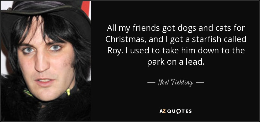 All my friends got dogs and cats for Christmas, and I got a starfish called Roy. I used to take him down to the park on a lead. - Noel Fielding
