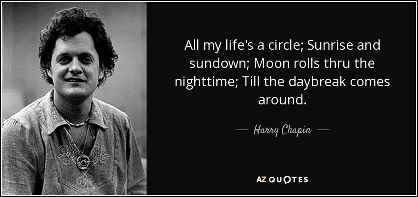 Harry Chapin Quote All My Lifes A Circle Sunrise And Sundown