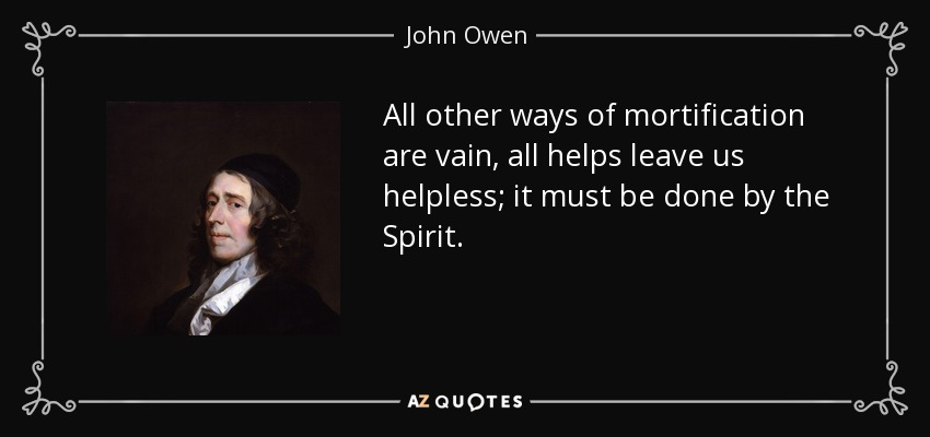 All other ways of mortification are vain, all helps leave us helpless; it must be done by the Spirit. - John Owen