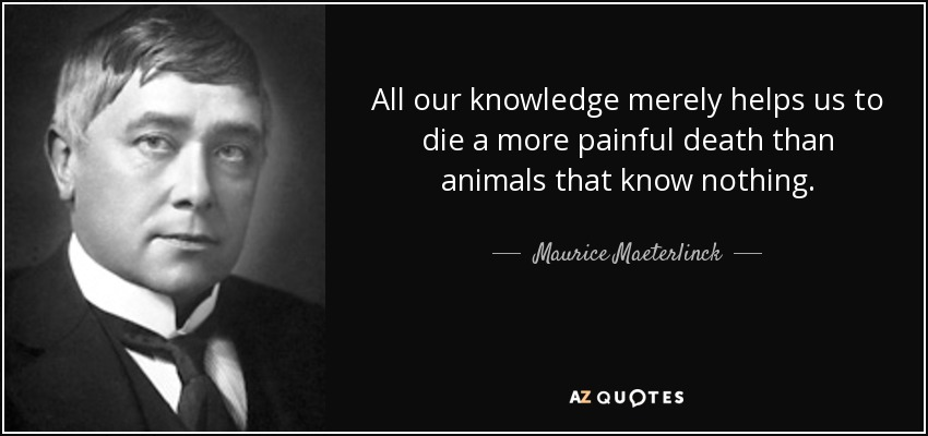 All our knowledge merely helps us to die a more painful death than animals that know nothing. - Maurice Maeterlinck