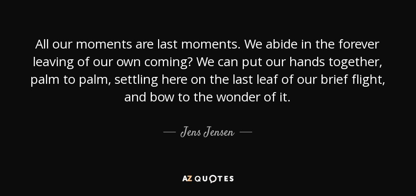 All our moments are last moments. We abide in the forever leaving of our own coming? We can put our hands together, palm to palm, settling here on the last leaf of our brief flight, and bow to the wonder of it. - Jens Jensen