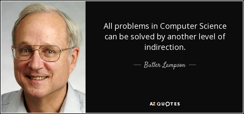 All problems in Computer Science can be solved by another level of indirection. - Butler Lampson
