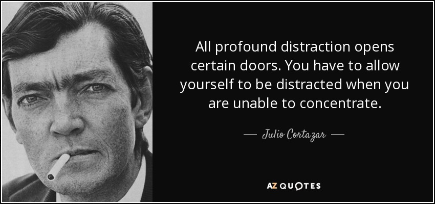 All profound distraction opens certain doors. You have to allow yourself to be distracted when you are unable to concentrate. - Julio Cortazar
