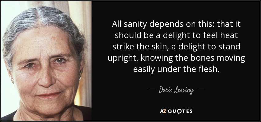 All sanity depends on this: that it should be a delight to feel heat strike the skin, a delight to stand upright, knowing the bones moving easily under the flesh. - Doris Lessing