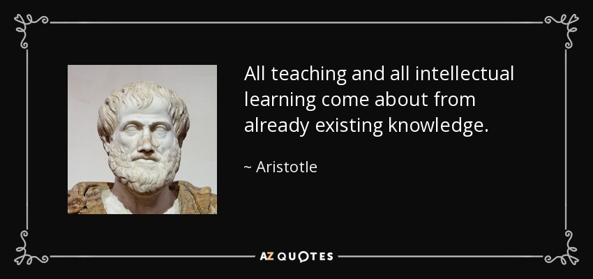 All teaching and all intellectual learning come about from already existing knowledge. - Aristotle