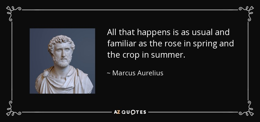 All that happens is as usual and familiar as the rose in spring and the crop in summer. - Marcus Aurelius