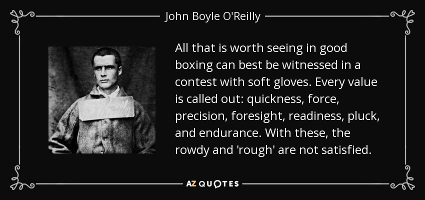 All that is worth seeing in good boxing can best be witnessed in a contest with soft gloves. Every value is called out: quickness, force, precision, foresight, readiness, pluck, and endurance. With these, the rowdy and 'rough' are not satisfied. - John Boyle O'Reilly