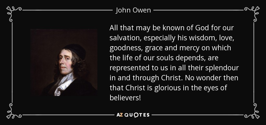 All that may be known of God for our salvation, especially his wisdom, love, goodness, grace and mercy on which the life of our souls depends, are represented to us in all their splendour in and through Christ. No wonder then that Christ is glorious in the eyes of believers! - John Owen