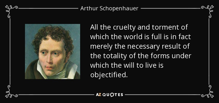 All the cruelty and torment of which the world is full is in fact merely the necessary result of the totality of the forms under which the will to live is objectified. - Arthur Schopenhauer