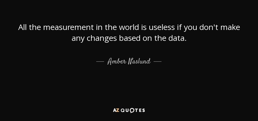 All the measurement in the world is useless if you don't make any changes based on the data. - Amber Naslund