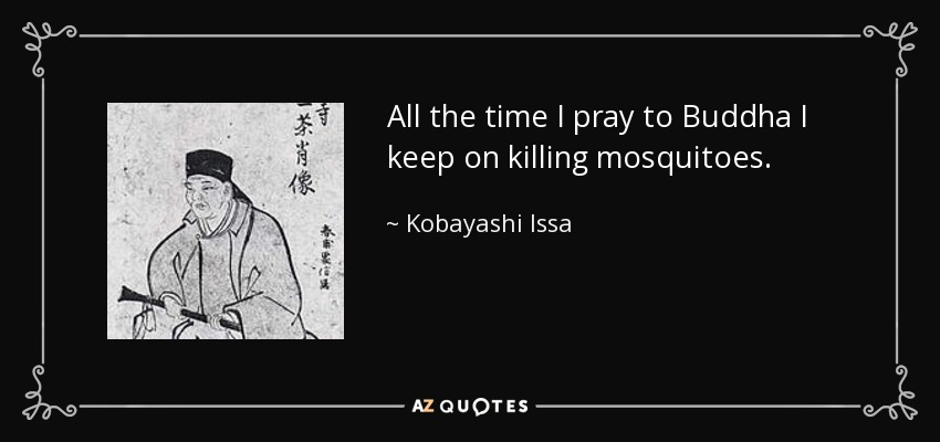 All the time I pray to Buddha I keep on killing mosquitoes. - Kobayashi Issa