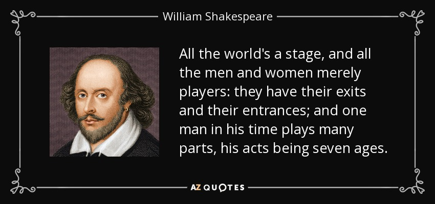 William Shakespeare quote: All the world's a stage, and ...