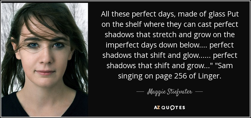 All these perfect days, made of glass Put on the shelf where they can cast perfect shadows that stretch and grow on the imperfect days down below. ... perfect shadows that shift and glow... ... perfect shadows that shift and grow...