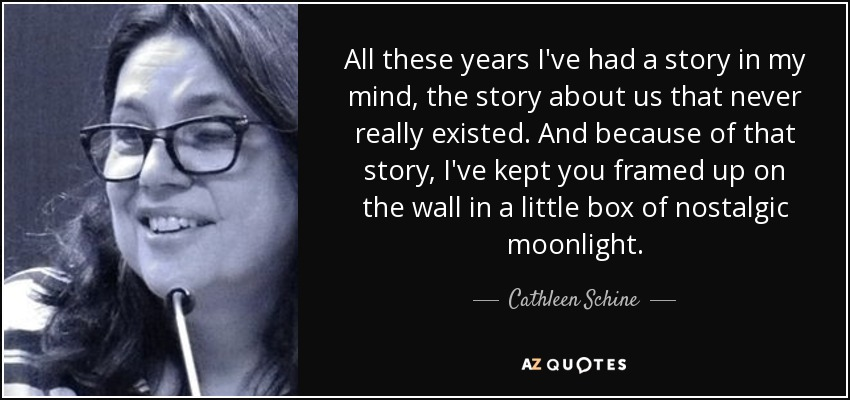 All these years I've had a story in my mind, the story about us that never really existed. And because of that story, I've kept you framed up on the wall in a little box of nostalgic moonlight. - Cathleen Schine