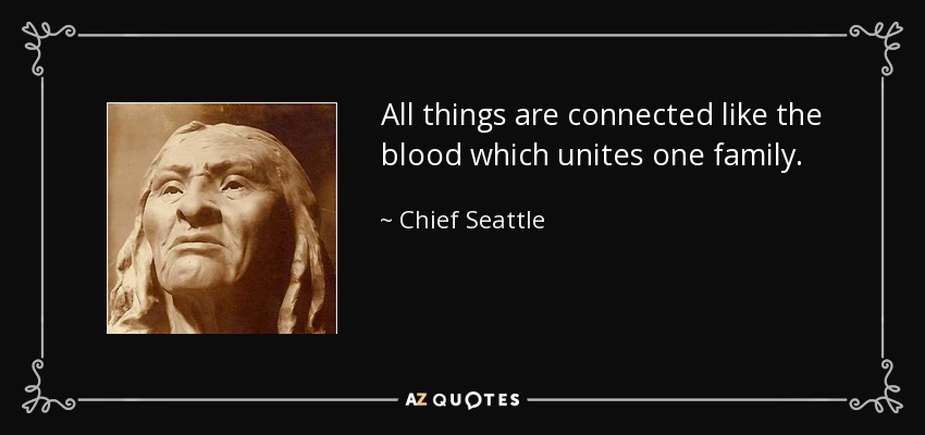 All things are connected like the blood which unites one family. - Chief Seattle