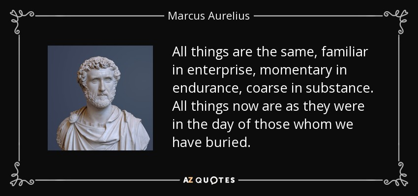 All things are the same, familiar in enterprise, momentary in endurance, coarse in substance. All things now are as they were in the day of those whom we have buried. - Marcus Aurelius