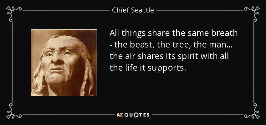 All things share the same breath - the beast, the tree, the man... the air shares its spirit with all the life it supports. - Chief Seattle