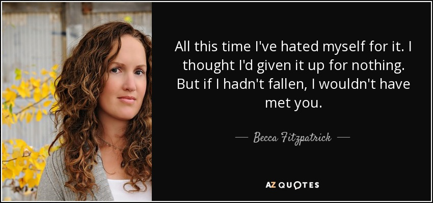 All this time I've hated myself for it. I thought I'd given it up for nothing. But if I hadn't fallen, I wouldn't have met you. - Becca Fitzpatrick