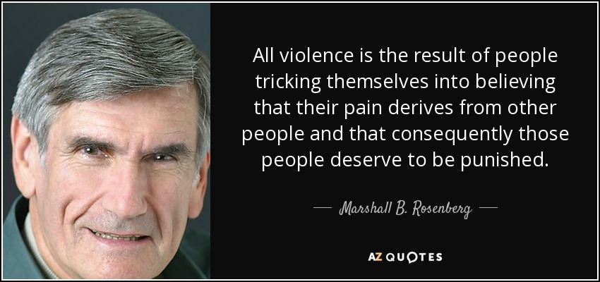 All violence is the result of people tricking themselves into believing that their pain derives from other people and that consequently those people deserve to be punished. - Marshall B. Rosenberg