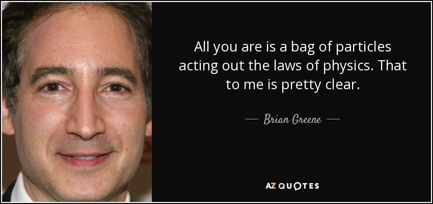 All you are is a bag of particles acting out the laws of physics. That to me is pretty clear. - Brian Greene