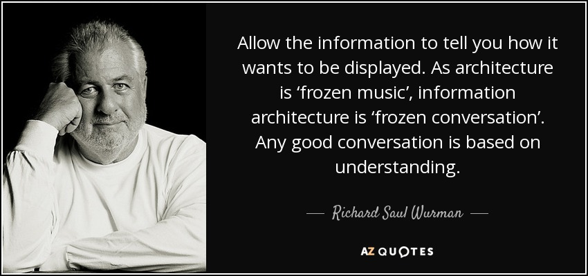 Allow the information to tell you how it wants to be displayed. As architecture is 'frozen music', information architecture is 'frozen conversation'. Any good conversation is based on understanding. - Richard Saul Wurman