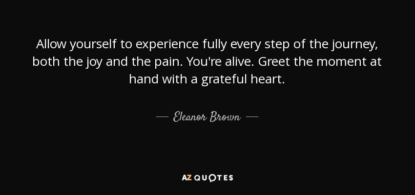 Allow yourself to experience fully every step of the journey, both the joy and the pain. You're alive. Greet the moment at hand with a grateful heart. - Eleanor Brown