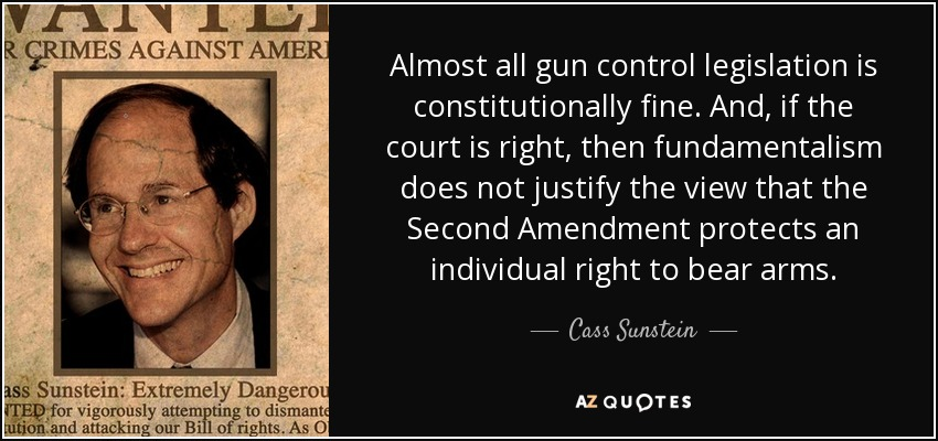 Almost all gun control legislation is constitutionally fine. And, if the court is right, then fundamentalism does not justify the view that the Second Amendment protects an individual right to bear arms. - Cass Sunstein