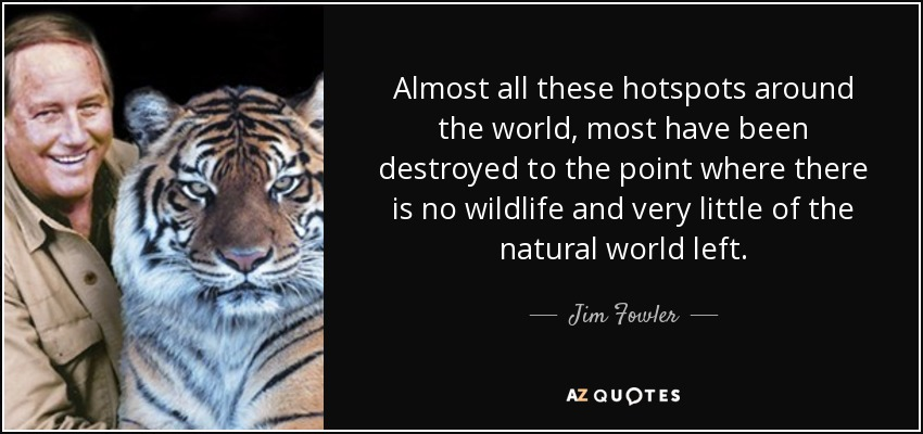 Almost all these hotspots around the world, most have been destroyed to the point where there is no wildlife and very little of the natural world left. - Jim Fowler