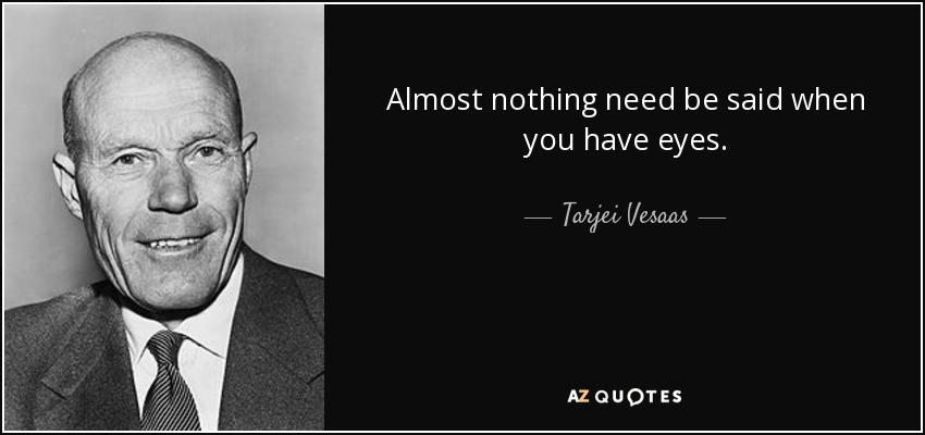 Almost nothing need be said when you have eyes. - Tarjei Vesaas