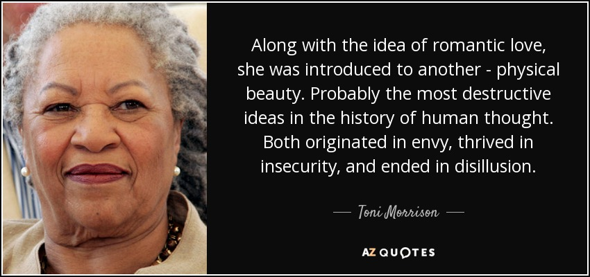 Along with the idea of romantic love, she was introduced to another - physical beauty. Probably the most destructive ideas in the history of human thought. Both originated in envy, thrived in insecurity, and ended in disillusion. - Toni Morrison