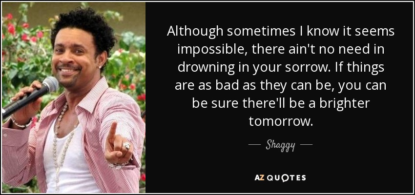 Although sometimes I know it seems impossible, there ain't no need in drowning in your sorrow. If things are as bad as they can be, you can be sure there'll be a brighter tomorrow. - Shaggy
