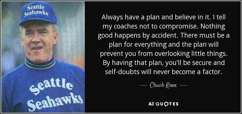 Always have a plan and believe in it. I tell my coaches not to compromise. Nothing good happens by accident. There must be a plan for everything and the plan will prevent you from overlooking little things. By having that plan, you'll be secure and self-doubts will never become a factor. - Chuck Knox