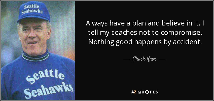 Always have a plan and believe in it. I tell my coaches not to compromise. Nothing good happens by accident. - Chuck Knox