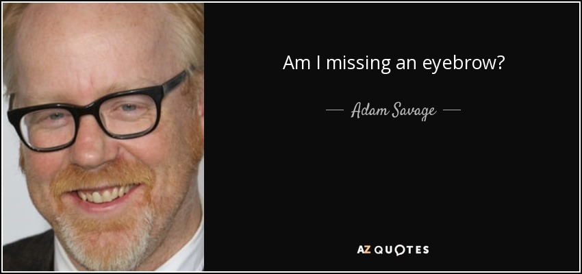 Am I missing an eyebrow? - Adam Savage