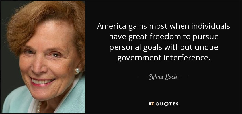 America gains most when individuals have great freedom to pursue personal goals without undue government interference. - Sylvia Earle