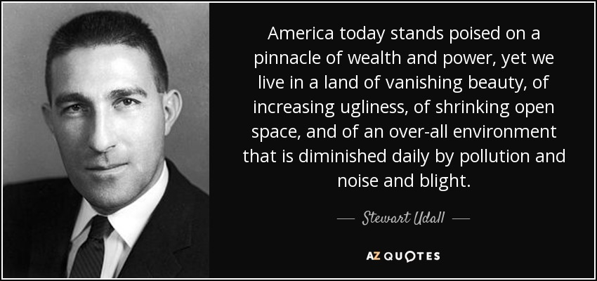 America today stands poised on a pinnacle of wealth and power, yet we live in a land of vanishing beauty, of increasing ugliness, of shrinking open space, and of an over-all environment that is diminished daily by pollution and noise and blight. - Stewart Udall