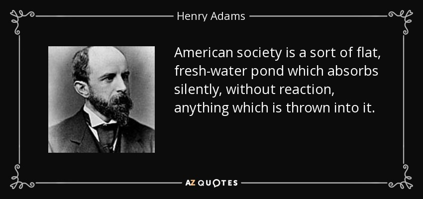 American society is a sort of flat, fresh-water pond which absorbs silently, without reaction, anything which is thrown into it. - Henry Adams