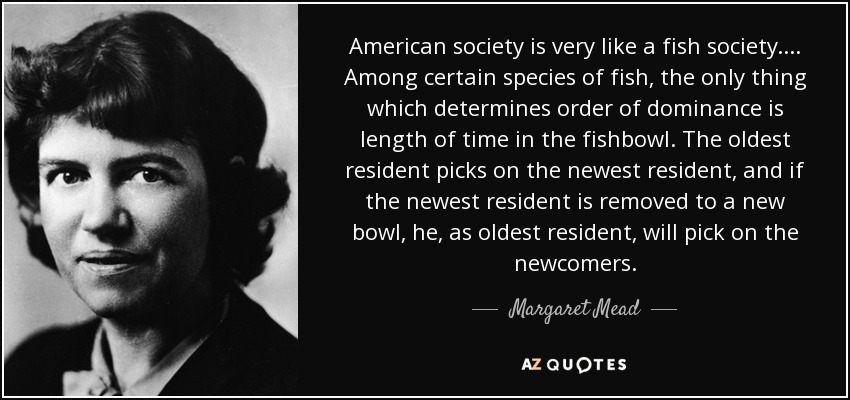 American society is very like a fish society. . . . Among certain species of fish, the only thing which determines order of dominance is length of time in the fishbowl. The oldest resident picks on the newest resident, and if the newest resident is removed to a new bowl, he, as oldest resident, will pick on the newcomers. - Margaret Mead