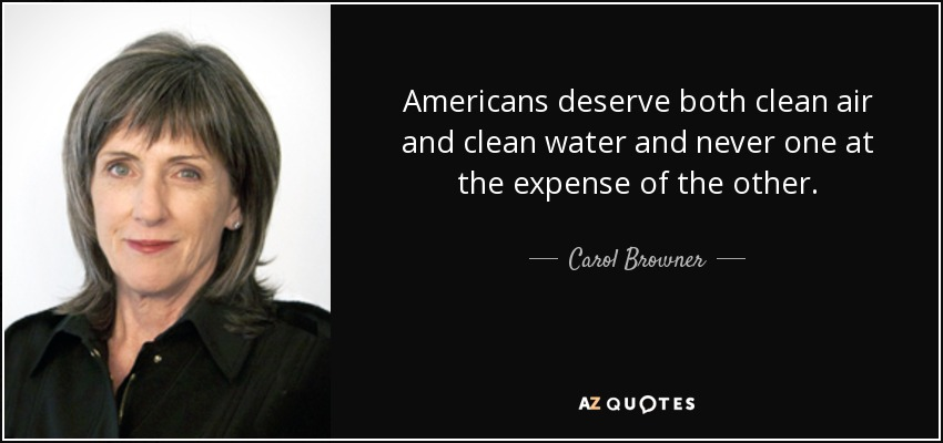 Americans deserve both clean air and clean water and never one at the expense of the other. - Carol Browner