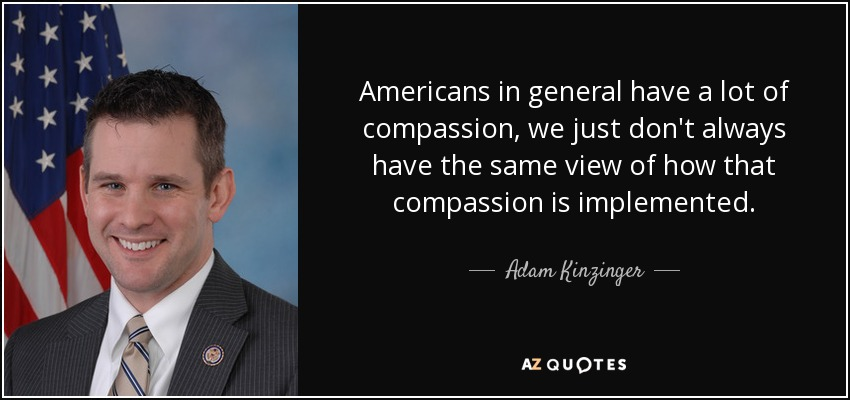 Americans in general have a lot of compassion, we just don't always have the same view of how that compassion is implemented. - Adam Kinzinger