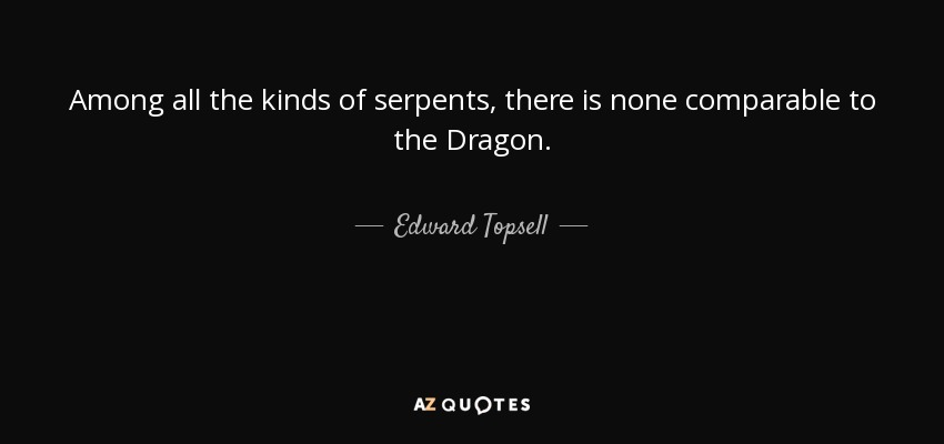 Among all the kinds of serpents, there is none comparable to the Dragon. - Edward Topsell