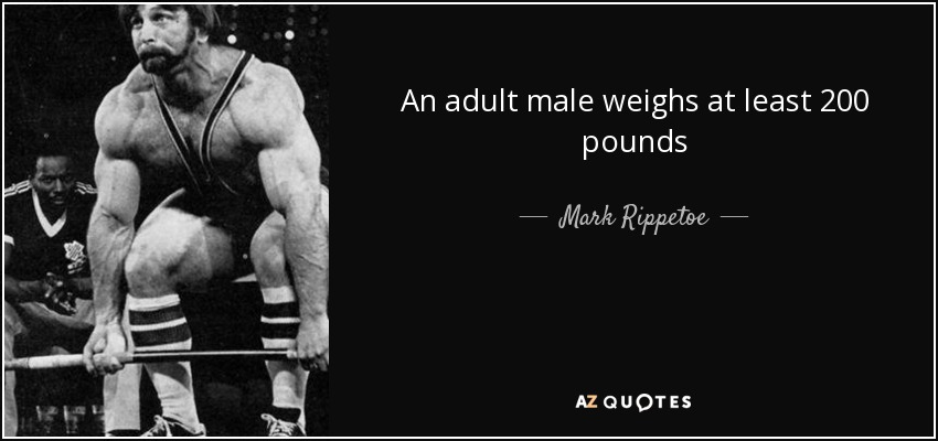 An adult male weighs at least 200 pounds - Mark Rippetoe