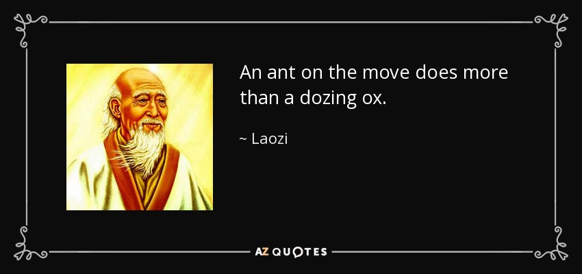 An ant on the move does more than a dozing ox. - Laozi
