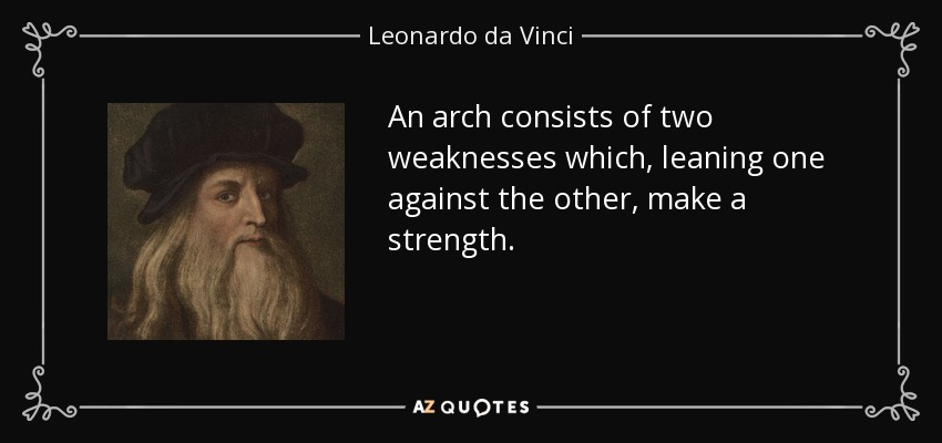 An arch consists of two weaknesses which, leaning one against the other, make a strength. - Leonardo da Vinci